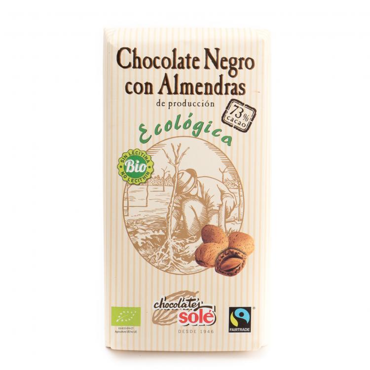 Chocolate negro 73% con almendras ecológico
