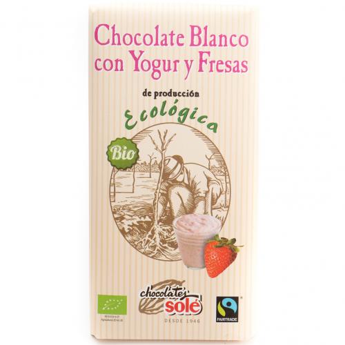 Chocolate blanco con yogur y fresas ecológico