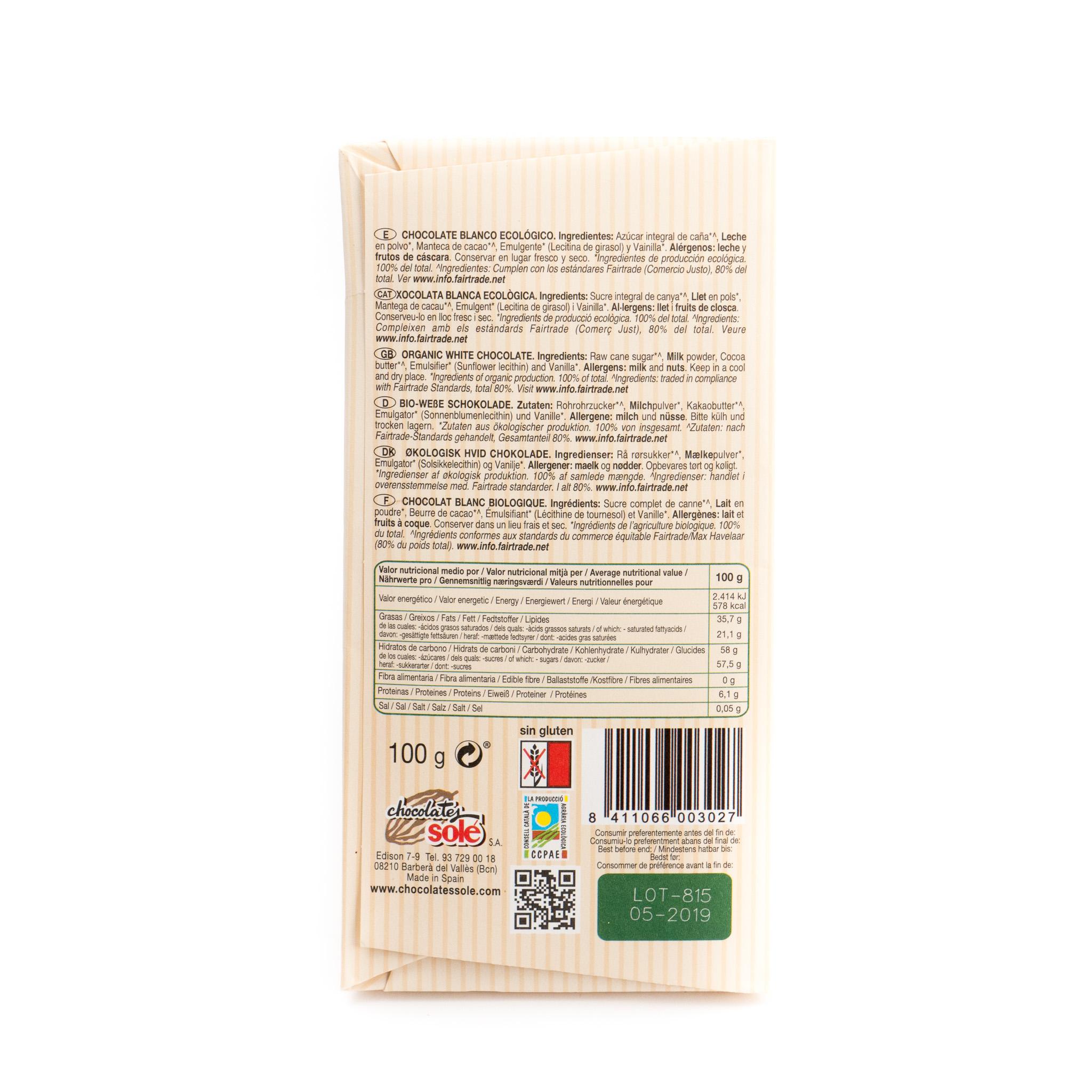 Chocolate blanco ecológico