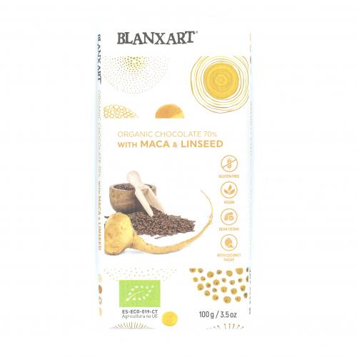 Chocolate negro 70% ecológico con maca y lino